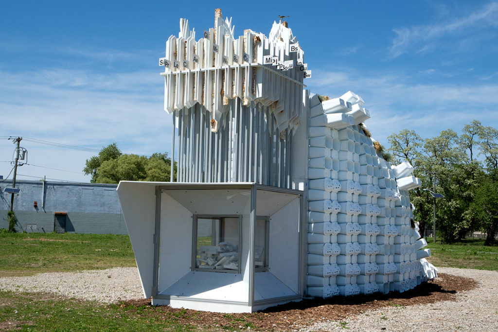 One of New View-Camden's strangest displays features worms that eat styrofoam. It's called the Bio-Informatic Digester.