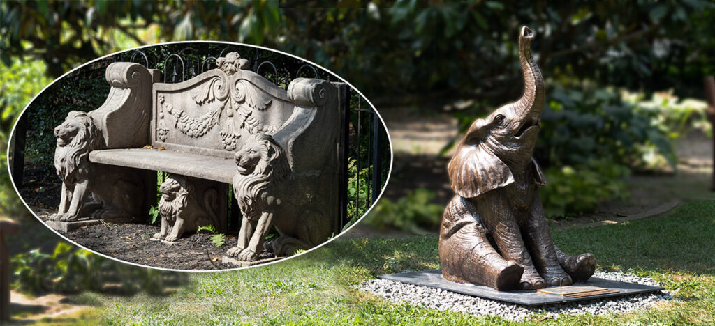 Bronze sculpture of Baby Ndotto, the baby elephants rescued in Kenya where he was abandoned among a herd of goats